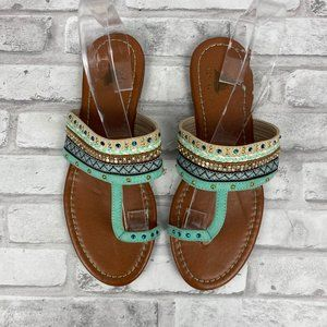 Toe Ring Sandals Turquoise Jeweled Bling Size 8M